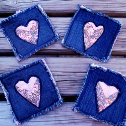 Denim and Patchwork Shabby Chic Coasters
