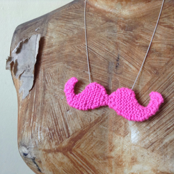 Knitted Pink Moustache Pendant on silver chain
