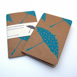 Hand printed Bird Brolly notebook