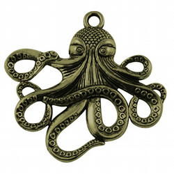 2 Antique Bronze Octopus