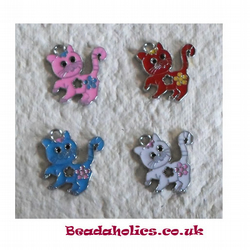 set of 4 Enameled cats