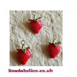 3 Enameled Strawberry Charms
