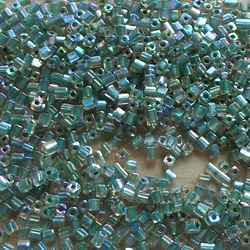 25 grams green cube beads