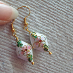 Pair of White Diamond Shapped Cloisonne' Earrings