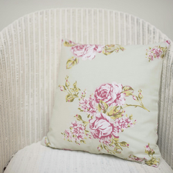 Pale Green Floral Cushion Cover