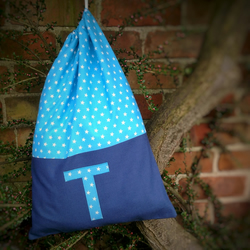 Personalised drawstring kit bag with initial