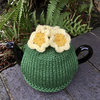 Small Primrose Tea Cosy, One Cup Knitted Tea Cozy with Yellow Flowers