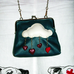 Its Raining Love - Teal Clasp Wristlet Purse