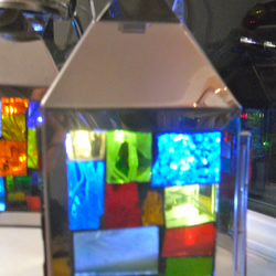Stained Glass Chrome Lanterns