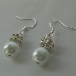 Pearl drop earrings, pearl and rhinestone earrings, bridesmaid gift