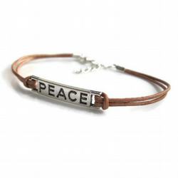 Peace bracelet, leather bracelet