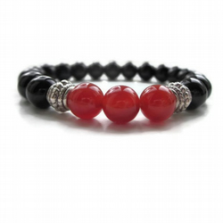 Black Onyx and Carnelian bracelet, mens gift idea