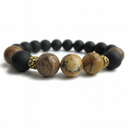 Mens healing bracelet, Black Stone with Picture Jasper