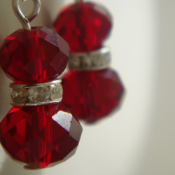 Red Crystal earrings with rhinestone