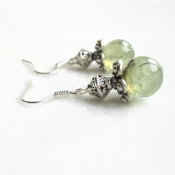 Prehnite earrings, green gemstone earrings, silver earrings