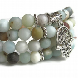 108 wrist Mala with Amazonite and Hamsa charm