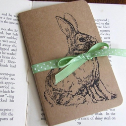 Wascally Bunny Wabbits Gocco Printed Rabbit Pocket Moleskine Cahier Notebook