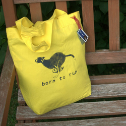Running greyhound tote bag