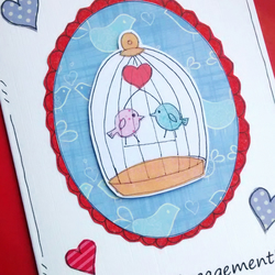 Engagement Card - Birdcage - Congratulations - Handcrafted - SALE