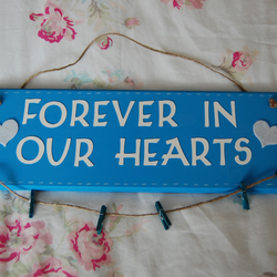 Handmade, 'Forever in our Hearts' Sign with Hanging photo string, pegs, Wedding.