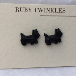 Little black Scottie dog earrings
