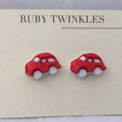 Little red car earrings