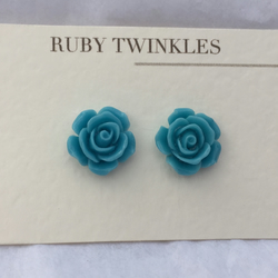 Turquoise  blue rose earrings
