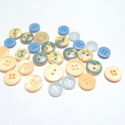 Nautical themed buttons: pack of 30 blue, white and picture buttons for craft.