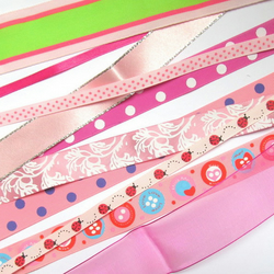 Pink ribbon pack: 10 x 1 metre pieces in a variety of colours and patterns