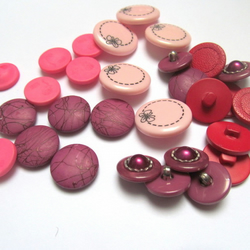 Mixed pink and red shank back buttons: pack of 29 various fastenings