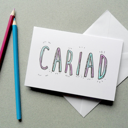 CARIAD. Love, Beloved Welsh Colour In Card. Diy personalised Typography Card