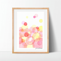 "Original Watercolour Painting geometric shapes daily painting gift 7""x10"""