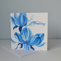 Blue and White Floral Wedding Card, blank inside - by Sarah Jane Brain