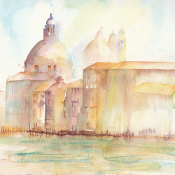 Greetings Card - Morning Sunshine on the Grand Canal