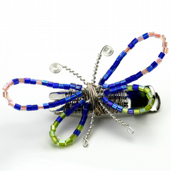 Handmade Bright Butterfly Metal Hair Slide Beaded Wire Pretty Cute Delicate