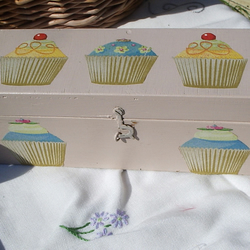 Cup Cake Wooden Trinket /Pencil Box