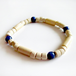 """Faded Figure"" men's wood and sodalite bracelet"
