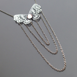 """Fantasy"" long vintage style butterfly necklace"