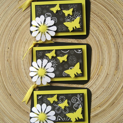SUMMER BUTTERFLY BLACK and YELLOW Gift Tags Set of 3