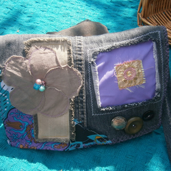 SALE Charcoal Stone-Wash Denim Patchwork 'Upcycled' Shabby Chic Boho Bag SMALL