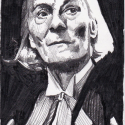Original ACEOs drawing of the First Doctor Who played by William Hartnell