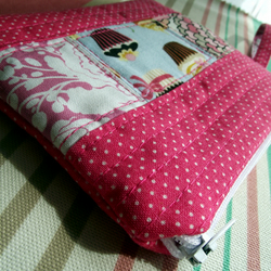 Cute Patchwork Zippy Pouch - Pink Polka Dot