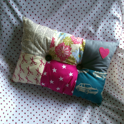 Bright Square Patches Cushion