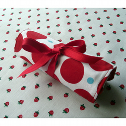 Red, White & Blue Polka Dot Crayon Roll