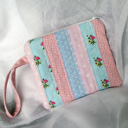 Cute Patchwork Zippy Pouch - Pink & Blue Stripes