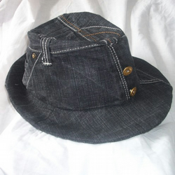 Recycled Denim Black Trilby style hat