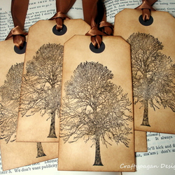 Autumn Tree Vintage Style Luggage Tags-Set of 6 Choice of Ribbon Colour