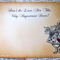 Save The Date Postcard-Alice in Wonderland, Vintage Style
