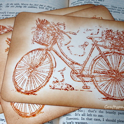 Vintage Bicycle Postcards-Stamped-Set of 3, with Envelopes