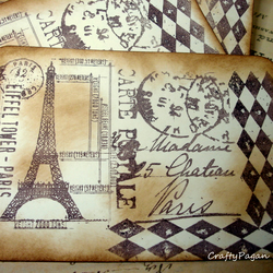 Postcards from Paris-3 Vintage style Hand stamped double sided post cards